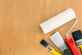 painting supplies on wooden background stock image image of brown handle 53932291
