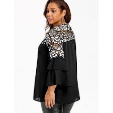 plus size blouses wholesale plus size bell sleeve hollow out blouse 5xl black