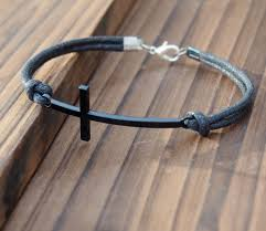 leather necklace cords wholesale images Mens leather bracelet cross gun black color vintage style quality jpg