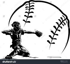 baseball catcher home plate stylized ball stock vector 181750946