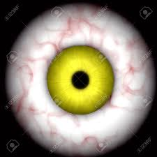 yellow creepy scary eye over black great for halloween stock