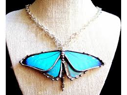 blue morpho butterfly necklace gifted to the stylist of