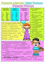 subject u0026object pronouns possessive adjectives worksheet free esl