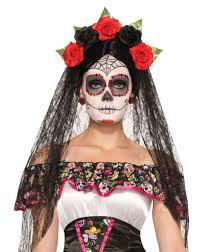 day of the dead headband day of the dead veil headband with flowers 74922 forum novelties