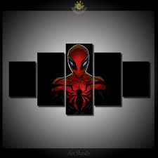 online get cheap spiderman art aliexpress com alibaba group 5 pieces set cartoon version of spiderman modern home wall decor canvas picture art hd print painting on canvas for home decor