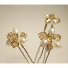flower hair pins topaz gold flower cluster hair pins bridal bags accessories