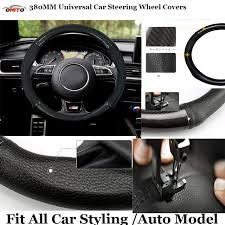 jeep steering wheel emblem carbon leather pu black universal handmade 380mm car steer wheel