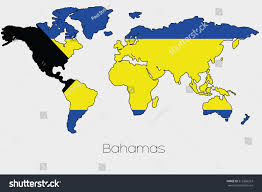 bahamas on a world map flag illustration inside shape world map stock vector 312366263