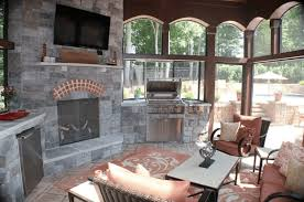 Screen Porch Fireplace by Interior Of Screen Porch With Fireplace And Grill U2013 Lake Norman