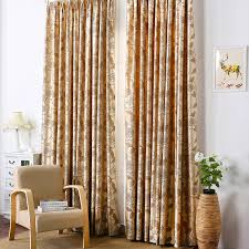 Blackout Yellow Curtains Decent Spun Gold Jacquard Light Coffee Thermal Blackout Curtains