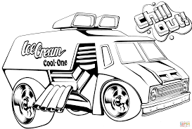 monster trucks drawings wheels ice cream truck coloring page free printable inside