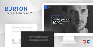burton u2013 one page resume u0026 cv template by redbrush themeforest