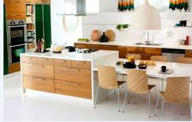homy kitchen interior design with green cabinet and oaks wall