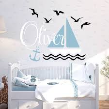 Custom Wall Decals For Nursery Sailboat And Sea Mew Custom Wall Decal Nursery Sea Theme Wall