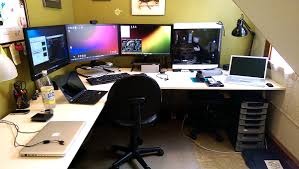 3 Monitor Computer Desk White Ikea Galant Bekant Corner Desk In A Gaming Room With 3