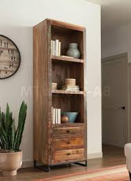 distressed bookcase with doors metal baker rack tv cart mobile tv