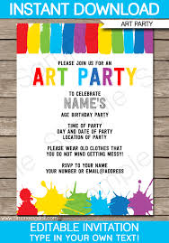 birthday party invitations party invitations paint party template