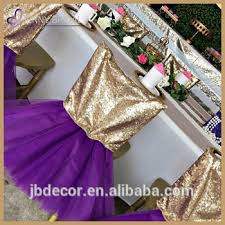 Cheap Chair Sashes C328 Wholesale Cheap Wedding Party Gold Sequin Head Purple Tutu