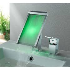 deck mount waterfall square led bathroom sink faucets with chrome