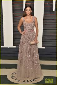 Vanity Fair Gowns And Robes Nina Dobrev U0026 Lily Collins Go Glam For Vanity Fair U0027s Oscars Bash