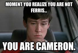 Cameron Meme - moment you realize you are not ferris you are cameron
