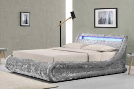 Double Bed Designs Catalogue Madrid Led Lights Silver Crushed Velvet Fabric Ottoman Storage Bed