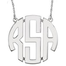monogram necklaces large 40 mm 3 letter block monogram necklace