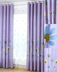 Lilac Nursery Curtains Decorative Embroidery Purple Floral Pattern Lilac Linen Cotton