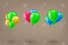 Illustration Of Set Of Shiny Different Color Balloons On Brown
