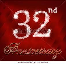 32nd wedding anniversary 32nd anniversary celebration background 32 years stock vector