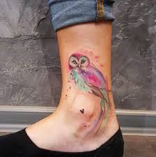 tattoo girl owl small owl watercolor piece on girl s ankle best tattoo design ideas