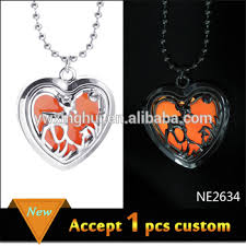 custom heart necklace custom heart shape deer animal glowing orange pendant