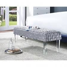 galileo brown leather modern living room bench contemporary
