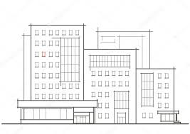 linear architectural sketch of multistory building with red window