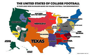 a map of where the majority of the fans for each team in college