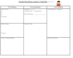 guided reading lesson plan template levels a n reading lesson