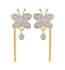 sui dhaga earrings buy skn silver and gold alloy dangle drop sui dhaga earrings for