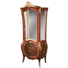 Images Of Curio Cabinets French Louis Xv Style Vernis Martin Curved Glass Vitrine Curio