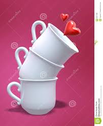 Porcelain Coffee Mugs Porcelain Coffee Cups And Love Heart Stock Photo Image 6357480