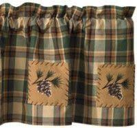 Cabin Valances Red Checked Curtains Red Plaid Valance Bear Pine Tree And Moose
