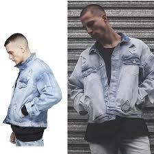 Light Blue Jacket Mens Mens Oversized Distressed Denim Jackets Streetwear Kanyye West