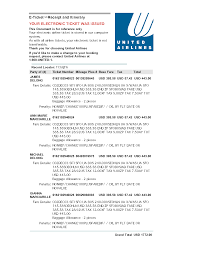 United Airlines Luggage Fees Itinerary Ticket