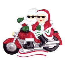 ornaments santa mrs claus motorcycle ornament