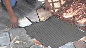 Interlocking Slate Patio Tiles by Mesh Mounted Flagstone Installation Instructions Youtube
