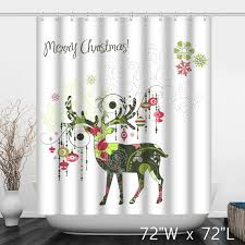 merry christmas deer print decoration shower curtain custom
