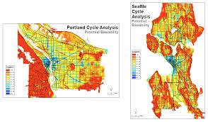 Portland Neighborhood Map Poster by Bikeability Analysis Portland And Seattle