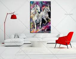 painted oil painting on canvas wall art picture white horse for