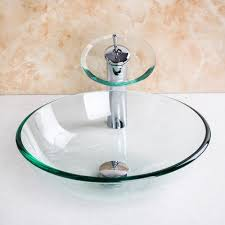 4012 1 4 transparent glass basin waterfall tap bathroom sink