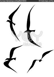 splendid flying birds silhouette tattoo vector illustration