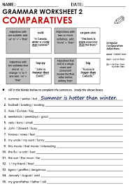 ideas of comparison of adjectives exercises worksheets about